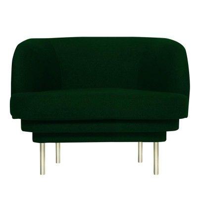 Cornice armchair brass & teal green velvet ENOstudio