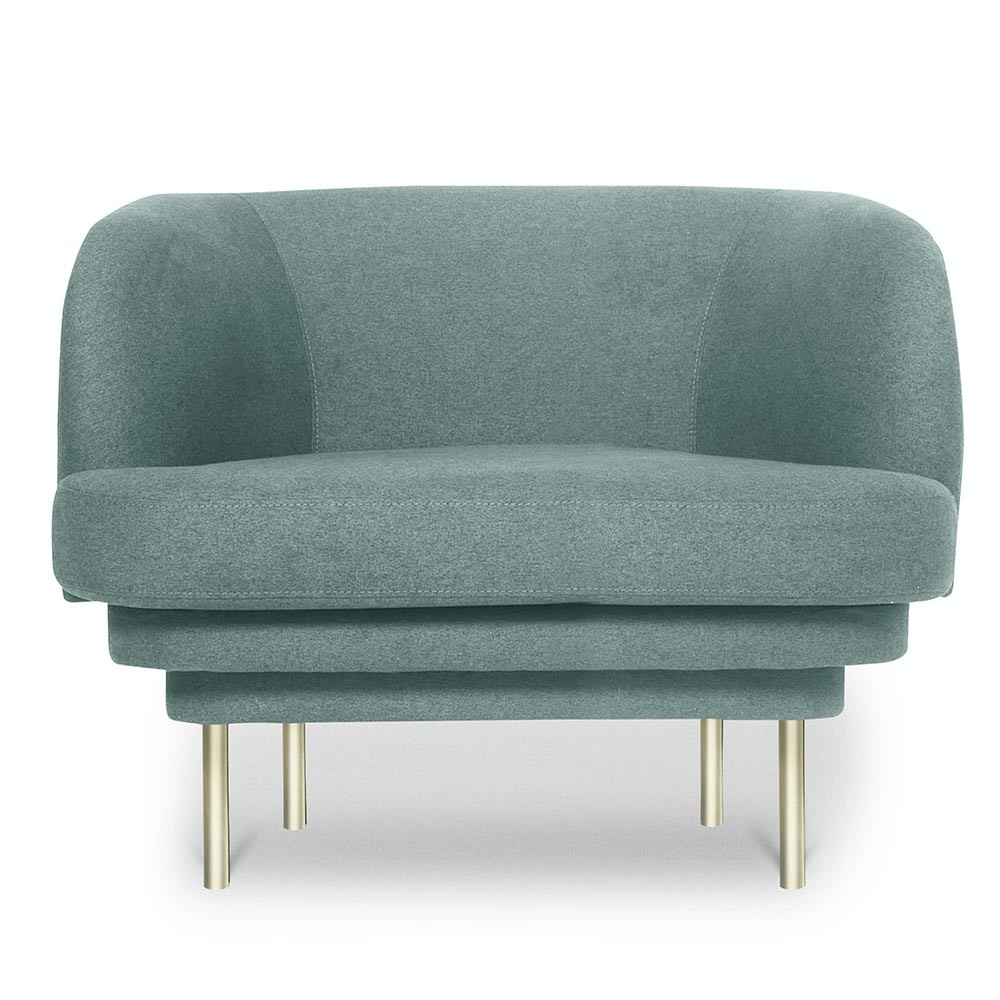 Cornice armchair brass & blue fabric ENOstudio