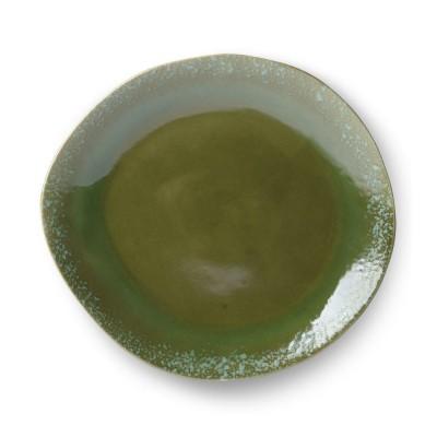 70's keramiek bord groen Ø29 cm