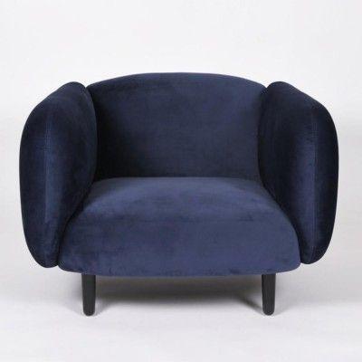 Moïra fauteuil nachtblauw fluweel ENOstudio