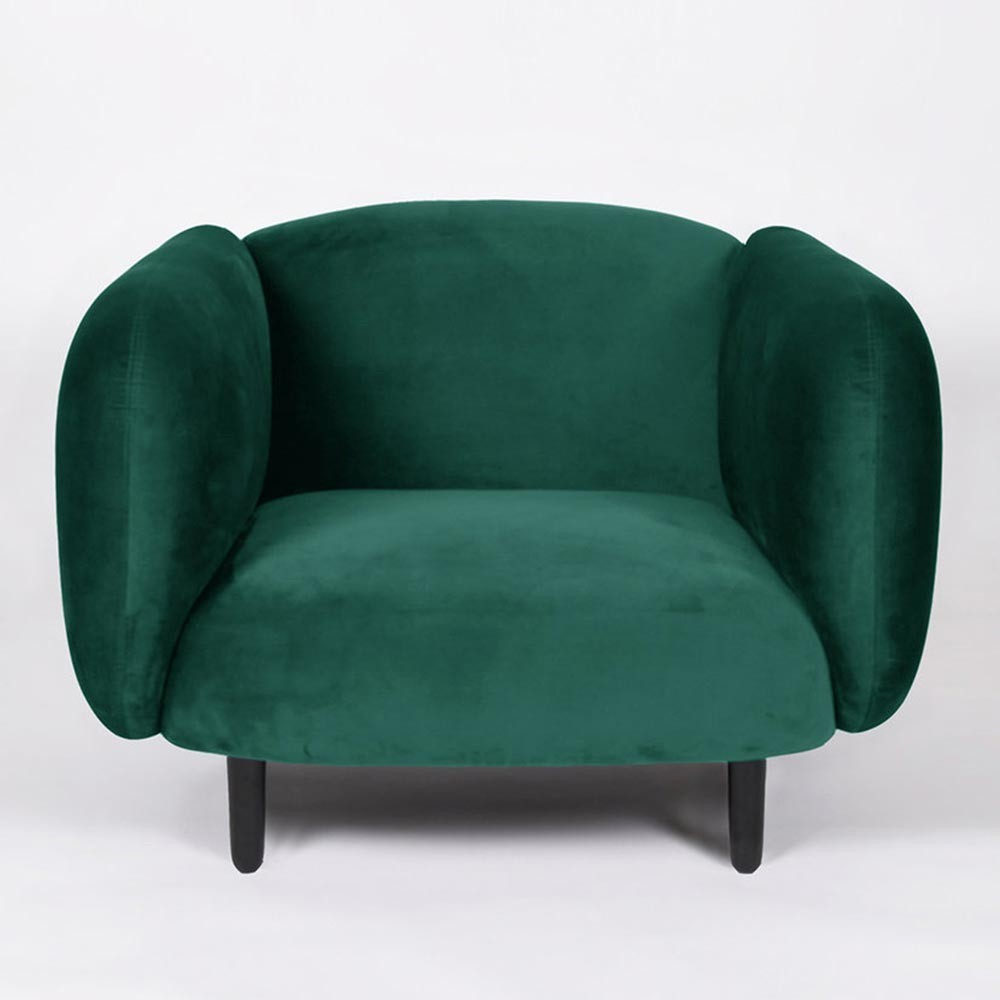 Fauteuil Moïra velours vert canard ENOstudio