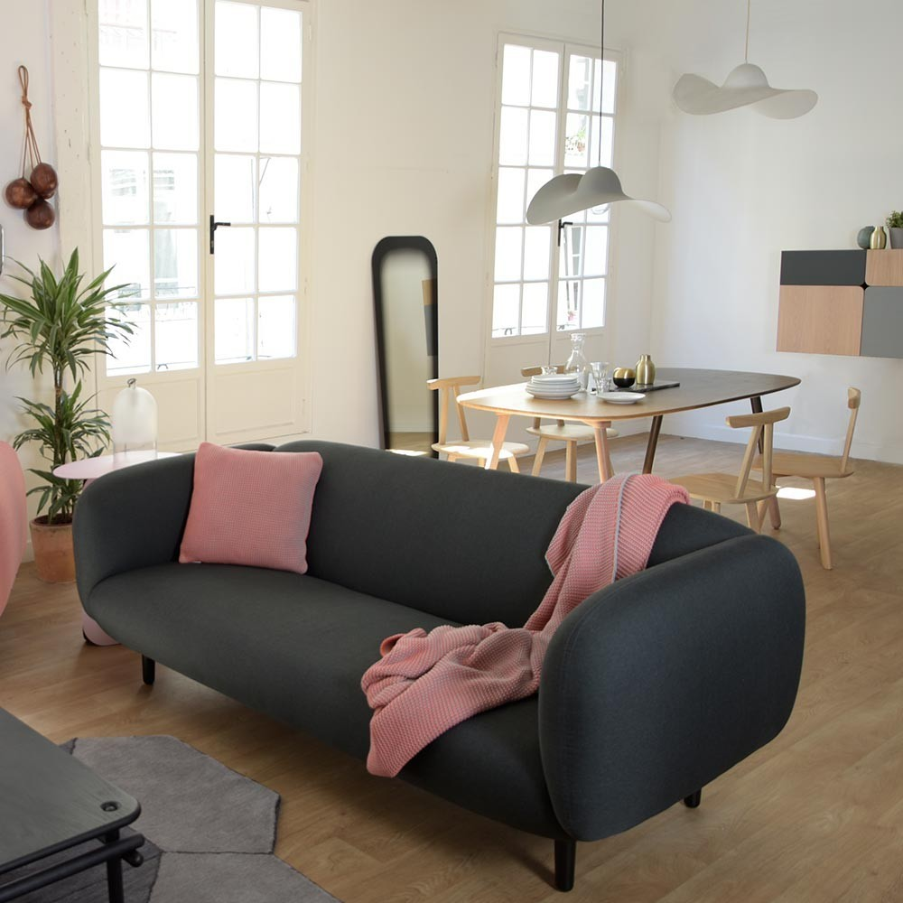 Moïra 3 seaters sofa light grey fabric ENOstudio