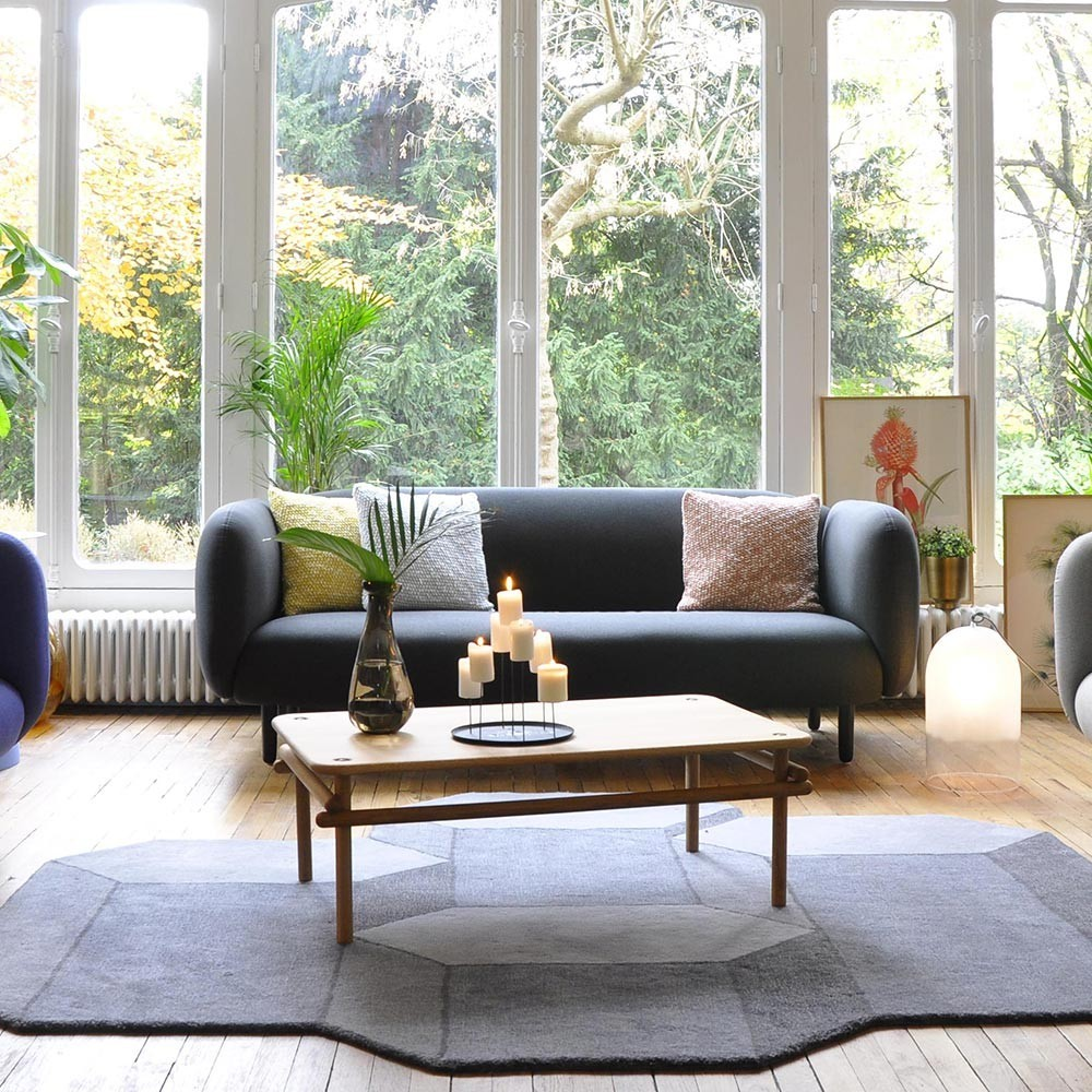 Moïra 3 seaters sofa blue fabric ENOstudio