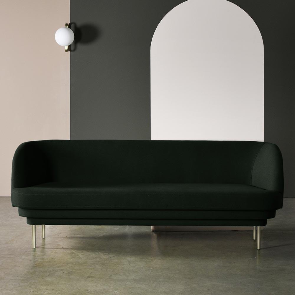 Cornice 3 seaters sofa brass & grey fabric ENOstudio