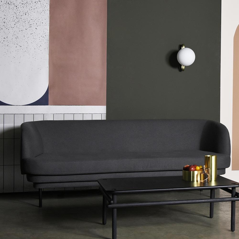 Cornice 3 seaters sofa brass & teal green velvet ENOstudio