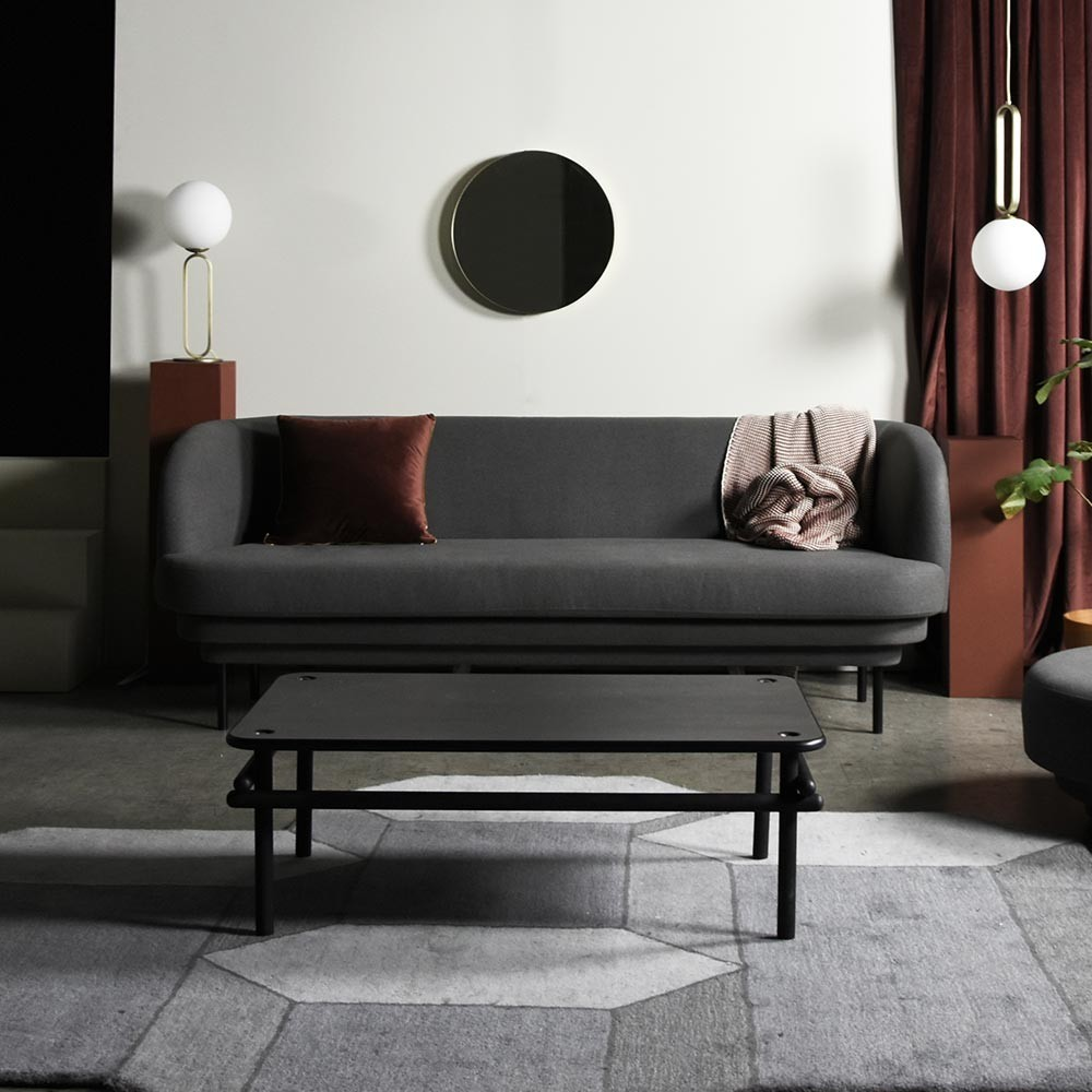 Cornice 3 seaters sofa black & teal green velvet ENOstudio