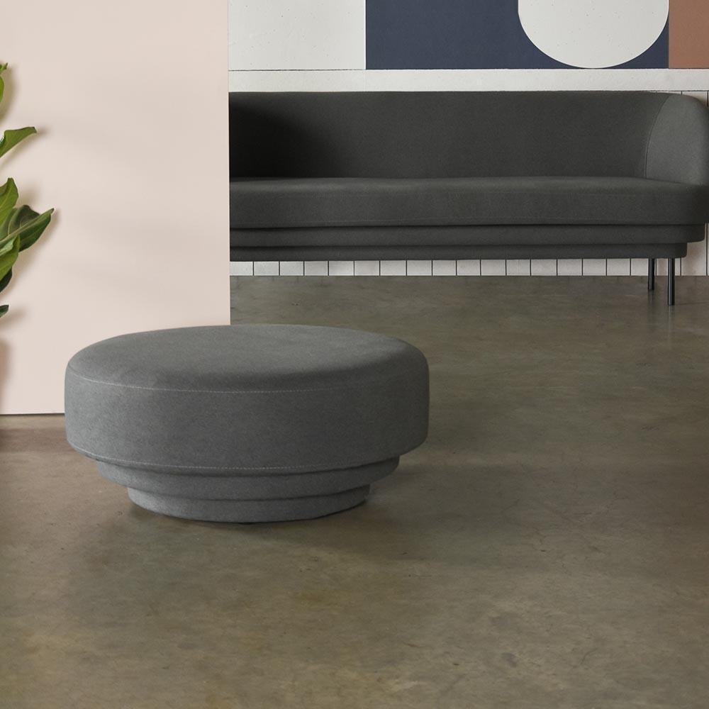 Cornice pouffe blue fabric ENOstudio
