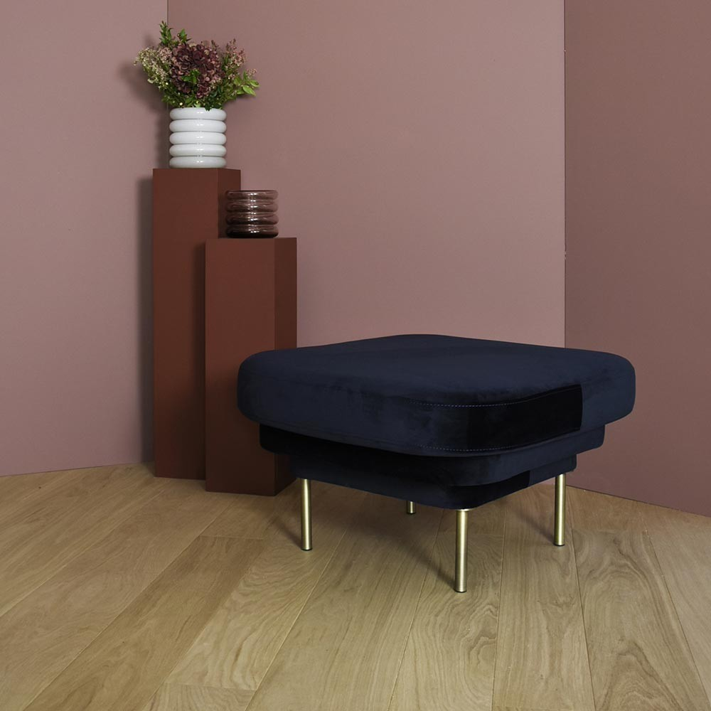 Cornice ottoman black & blue fabric ENOstudio