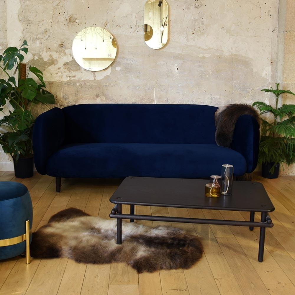 Canapé 3 places Moïra velours vert canard ENOstudio