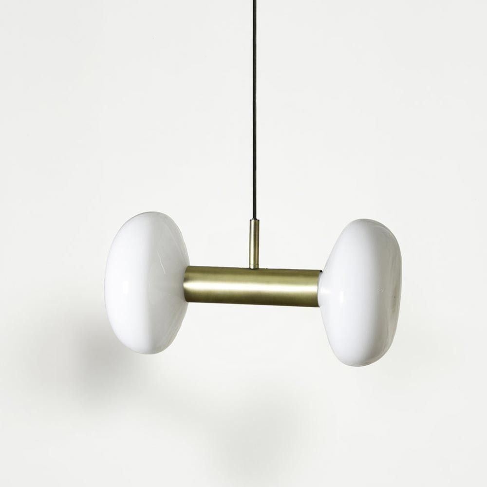 GAMBI TWO pendant lamp brass & opal ENOstudio