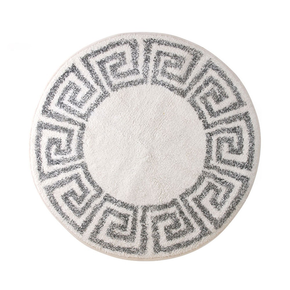 Greek key bath mat round 80cm HKliving