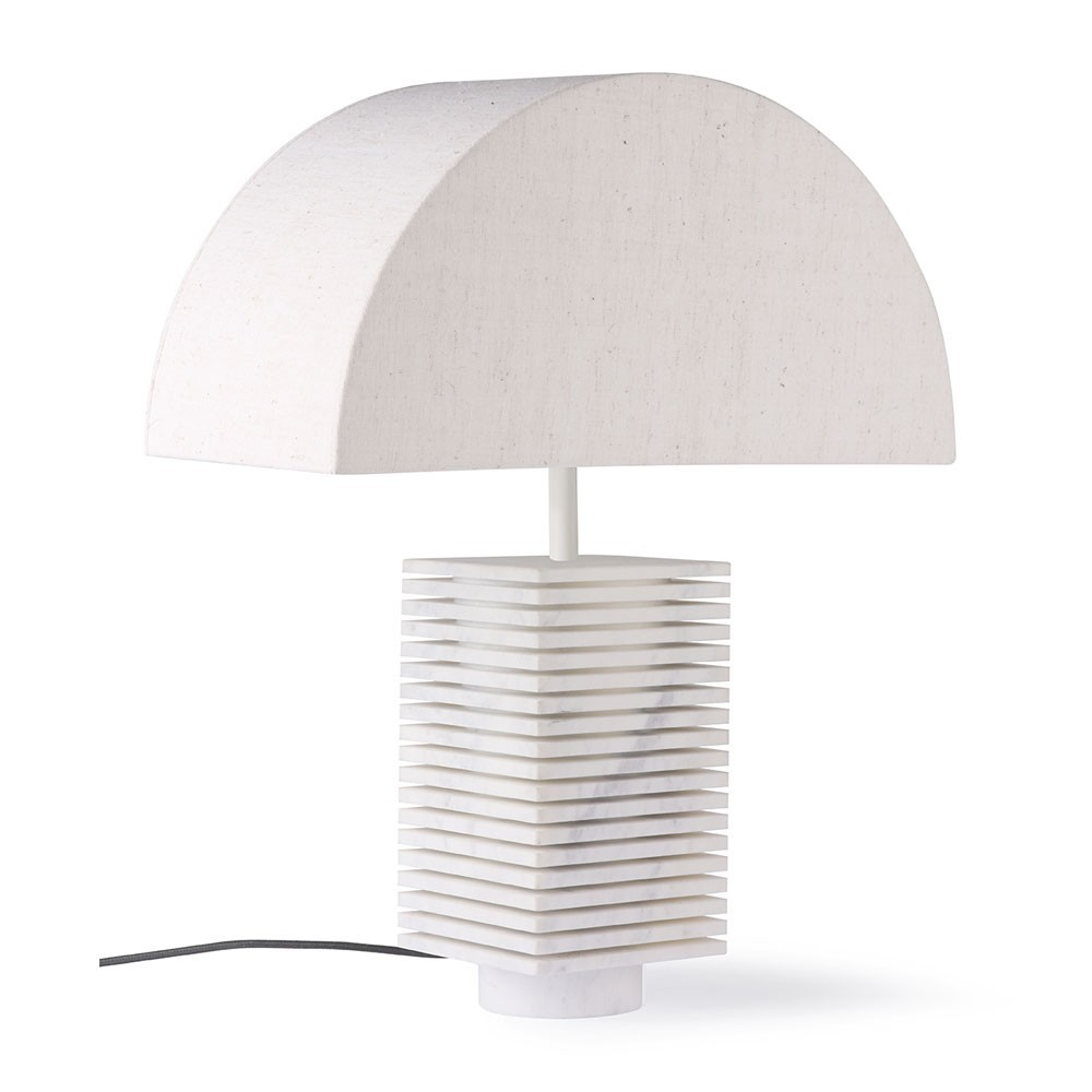 Ribbed table lampe natural & marble HKliving