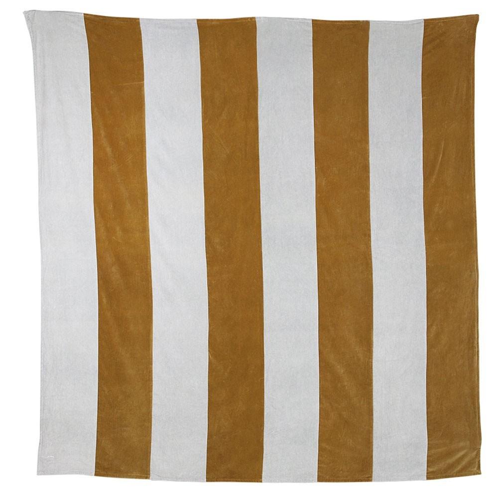 Striped bedspread velvet grey/gold HKliving