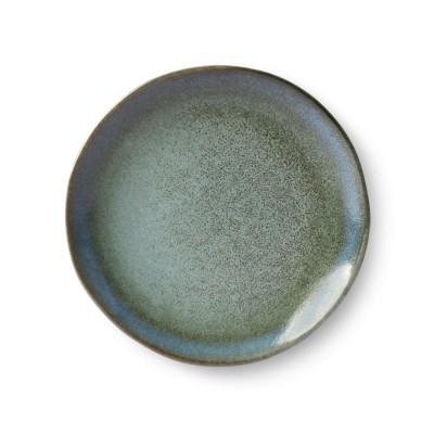 Ceramic 70's dessert plate moss Ø17,5 cm