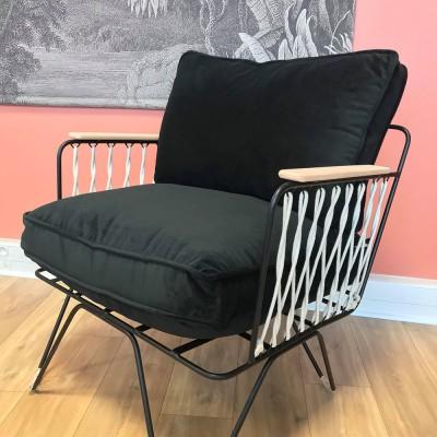 Croisette armchair black velvet Honoré