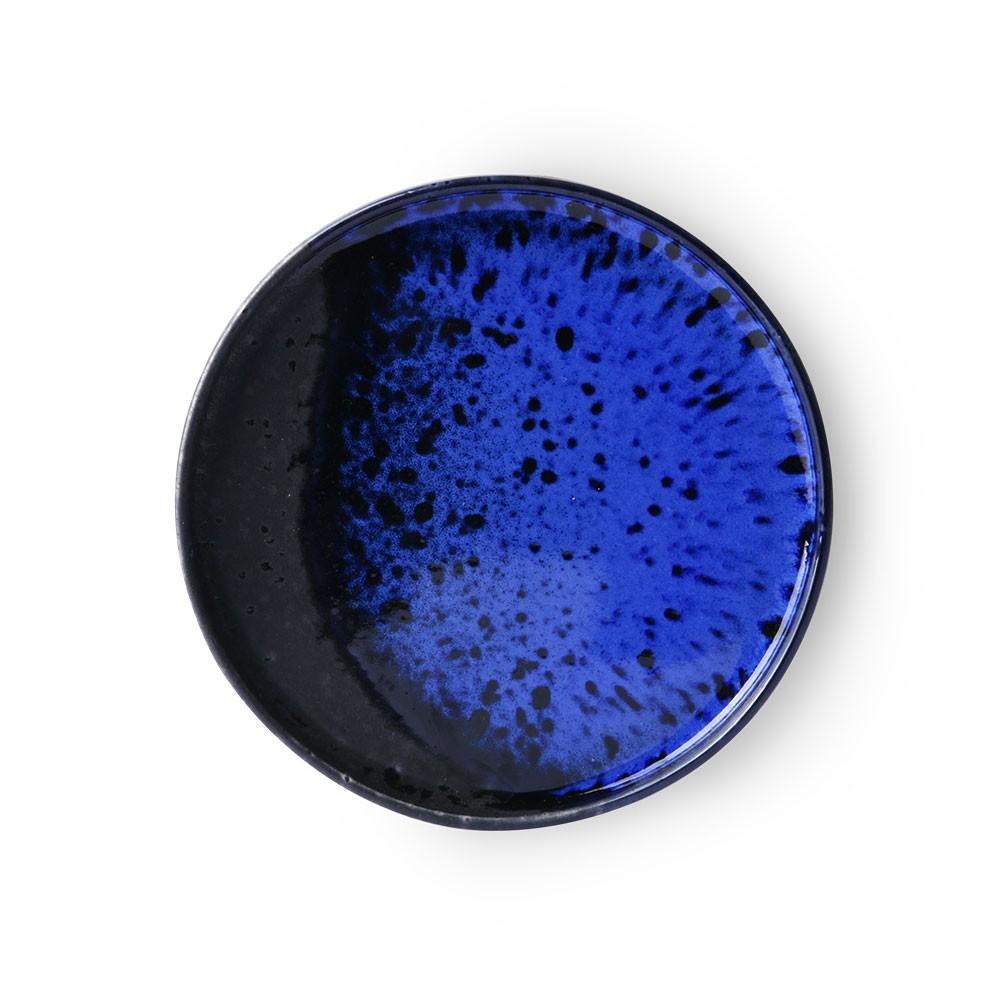 Cobalt & black dessert plate Ø17,5cm (set of 6) HKliving