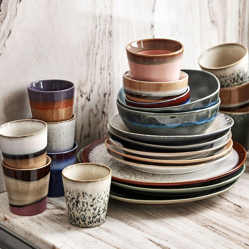 Ceramic 70's dessert plate bark Ø22 cm (set of 6) HKliving