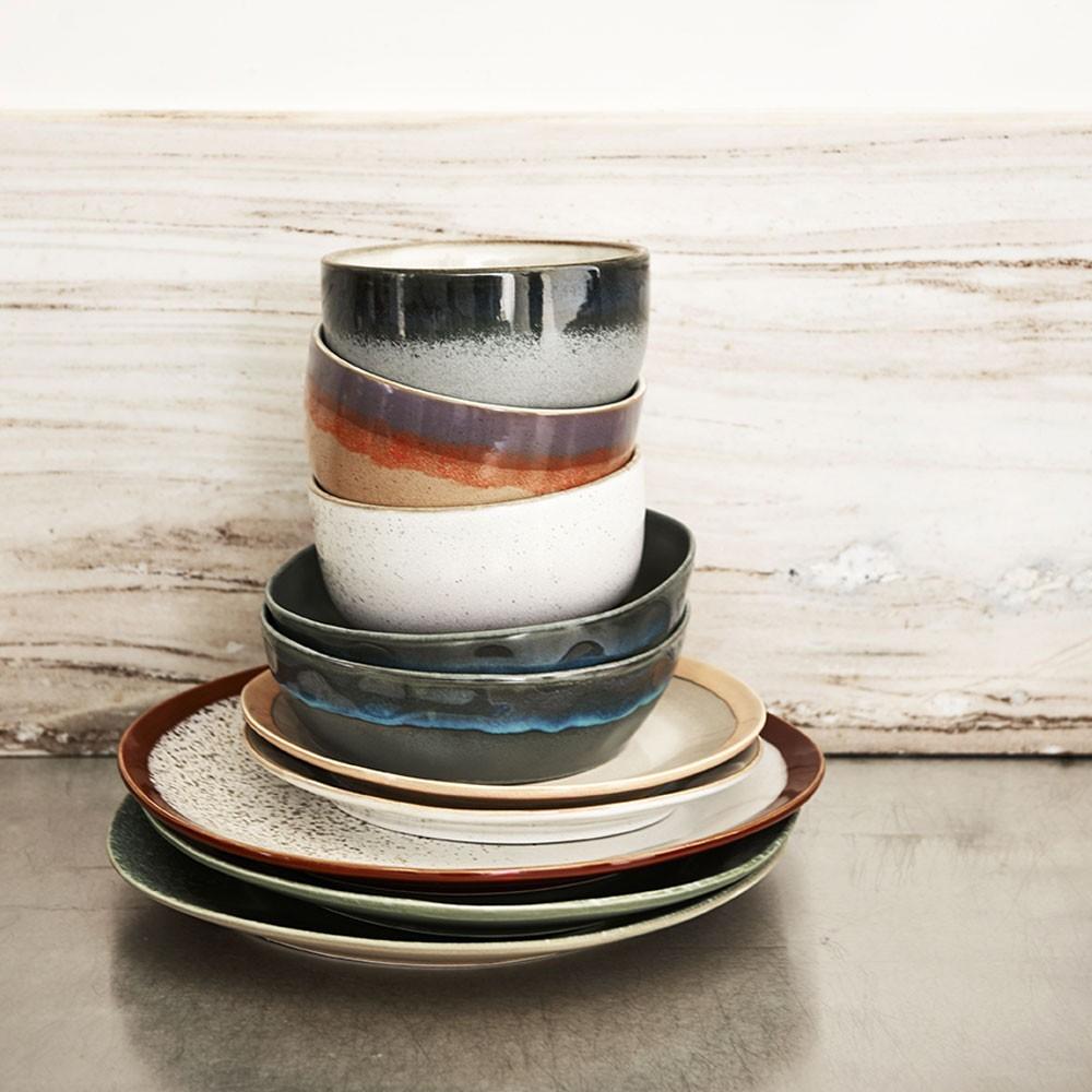 Ceramic 70's side plate earth Ø29cm HKliving
