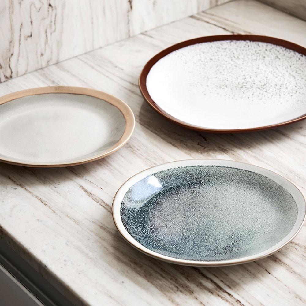 Ceramic 70's dinner plate frost Ø29cm (set of 6) HKliving
