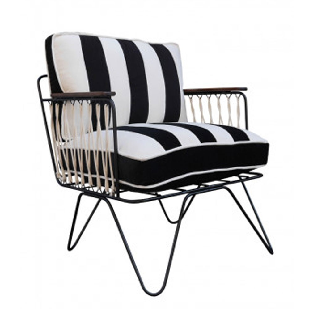 Croisette armchair black & white striped velvet Honoré