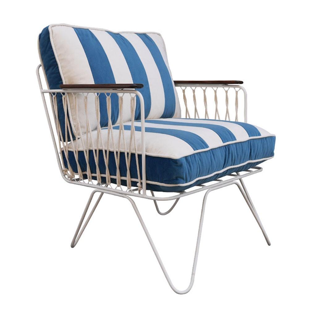 Croisette armchair petrol blue striped velvet Honoré
