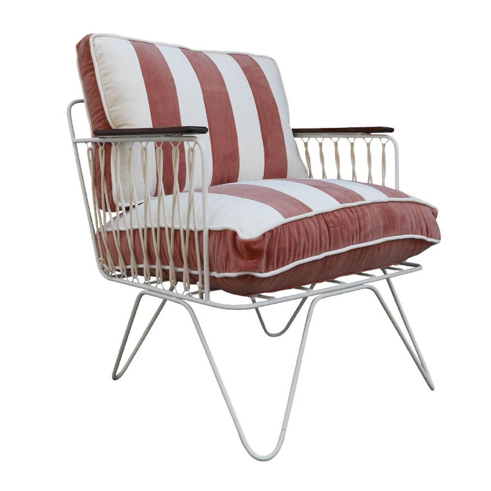 Croisette armchair powder pink striped velvet Honoré