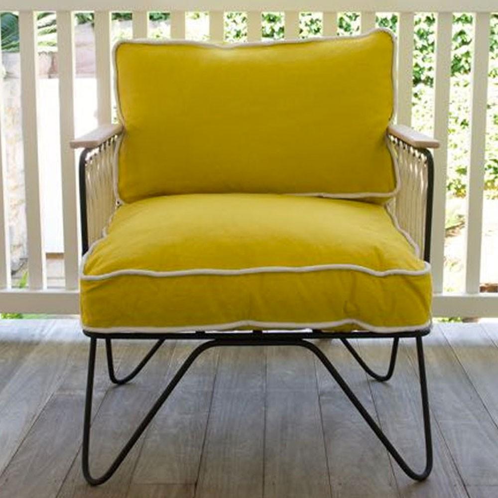 Croisette armchair yellow cotton Honoré