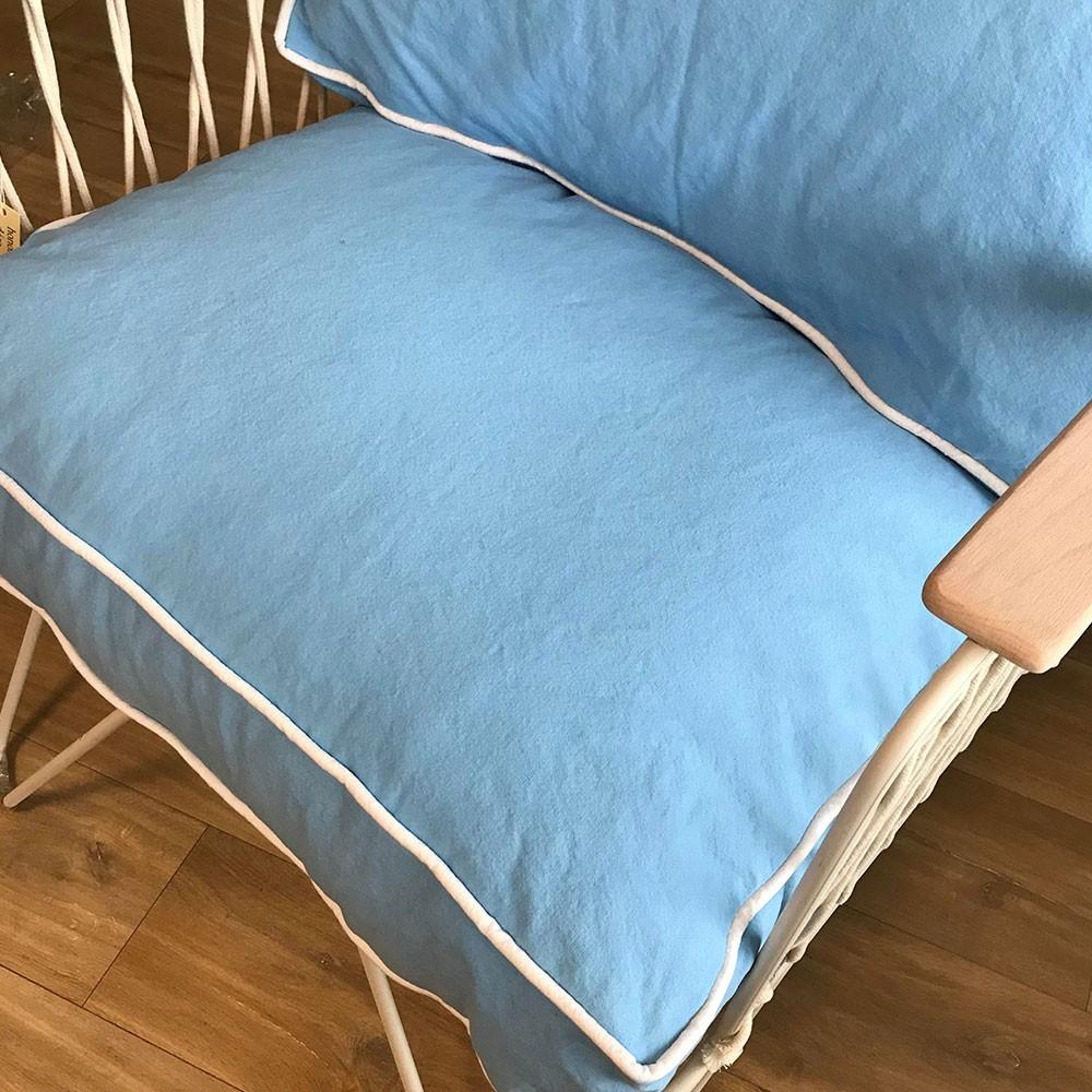 Croisette armchair skyblue cotton Honoré