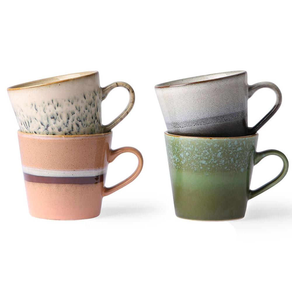 Ceramic 70's capuccino mugs (set of 4) HKliving