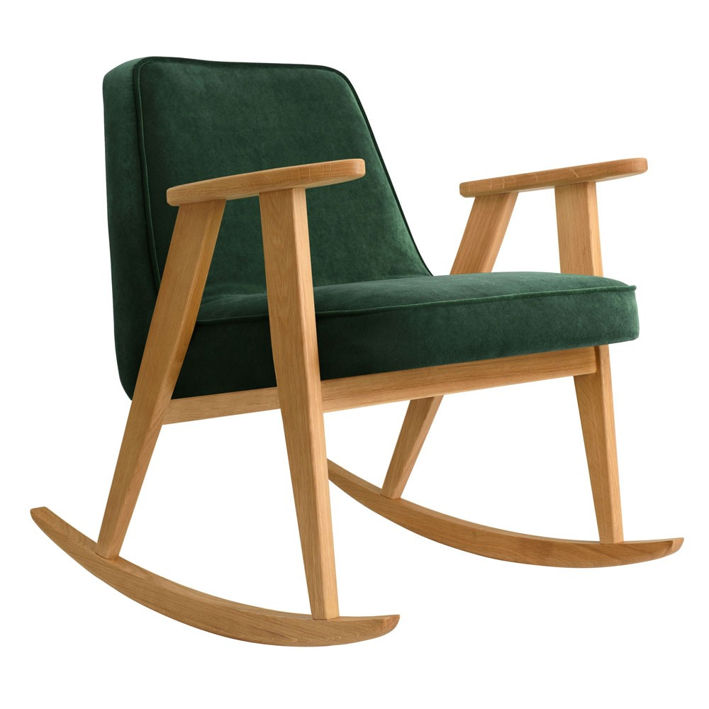 Rocking chair 366 Velours vert bouteille 366 Concept