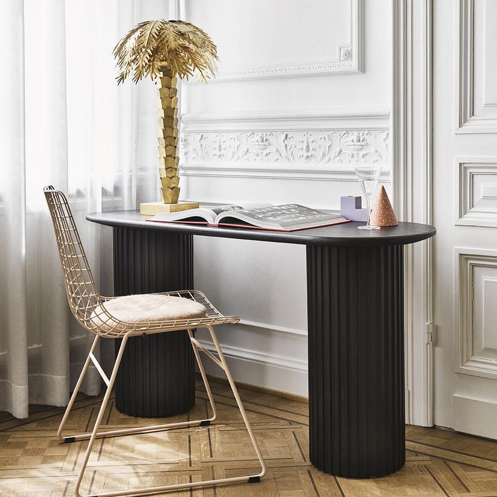 Pillar oval side table black HKliving