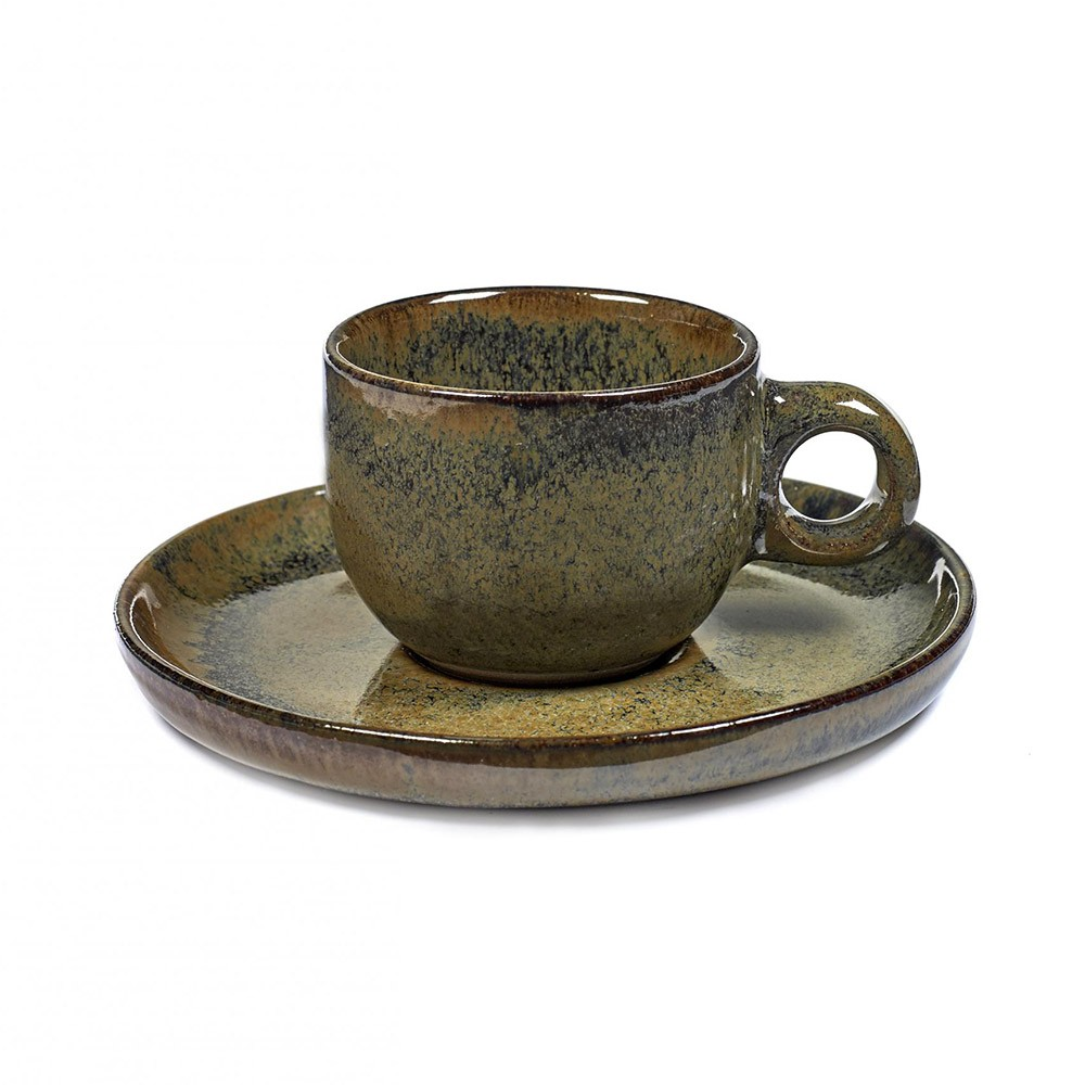 Espresso Surface cup with under plate indi grey Serax