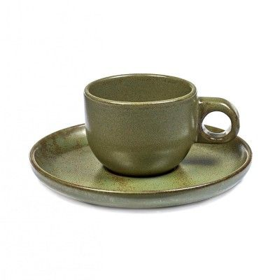 Espresso Surface cup with under plate camogreen Serax