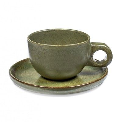 Lungo Surface cup with under plate camogreen Serax
