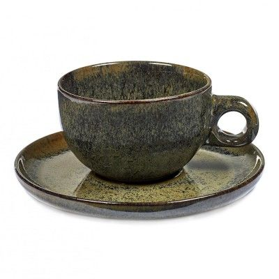 Cappuccino Surface cup with under plate indi grey Serax