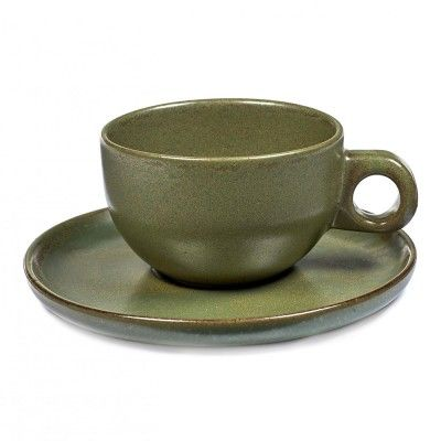 Cappuccino Surface cup with under plate camogreen Serax