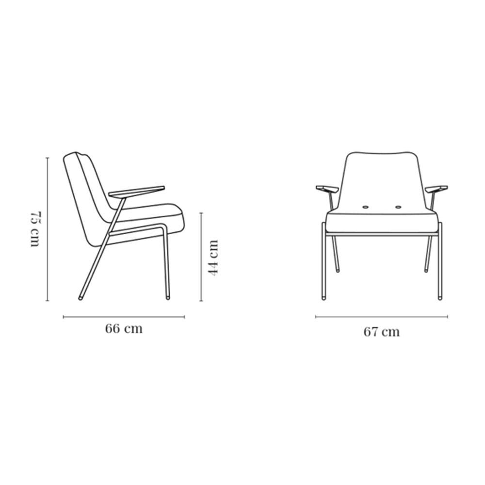 366 Metalen fauteuil van mosterdwol 366 Concept