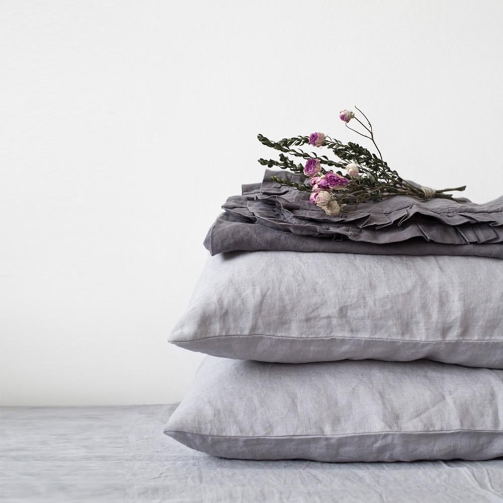 Light grey linen pillow case Linen Tales