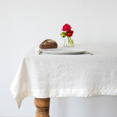 White washed linen tablecloth