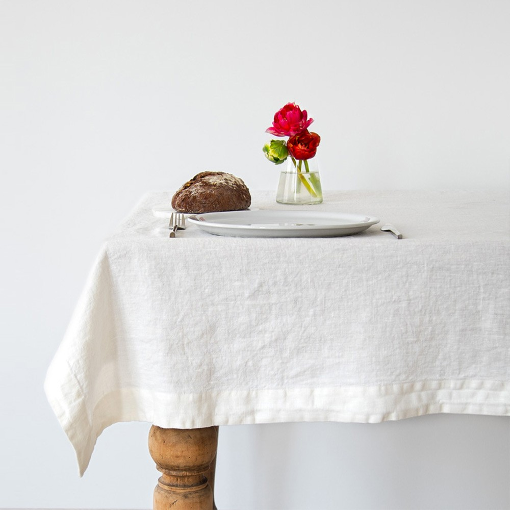 White washed linen tablecloth Linen Tales