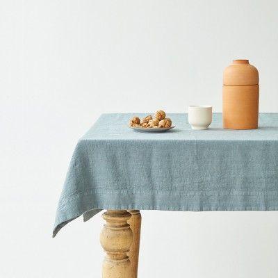 Blue fog washed linen tablecloth