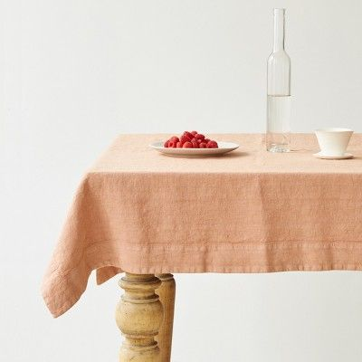 Cafe creme washed linen tablecloth