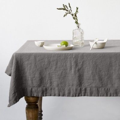 Ash washed linen tablecloth