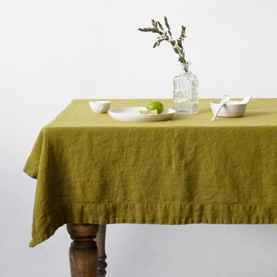 Moss green washed linen tablecloth Linen Tales Linen Tales
