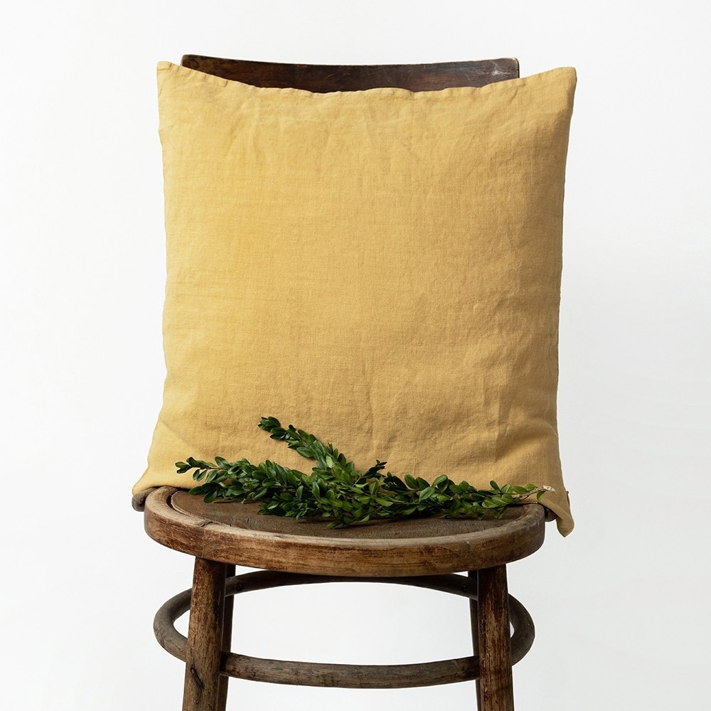 Honey washed linen cushion cover Linen Tales