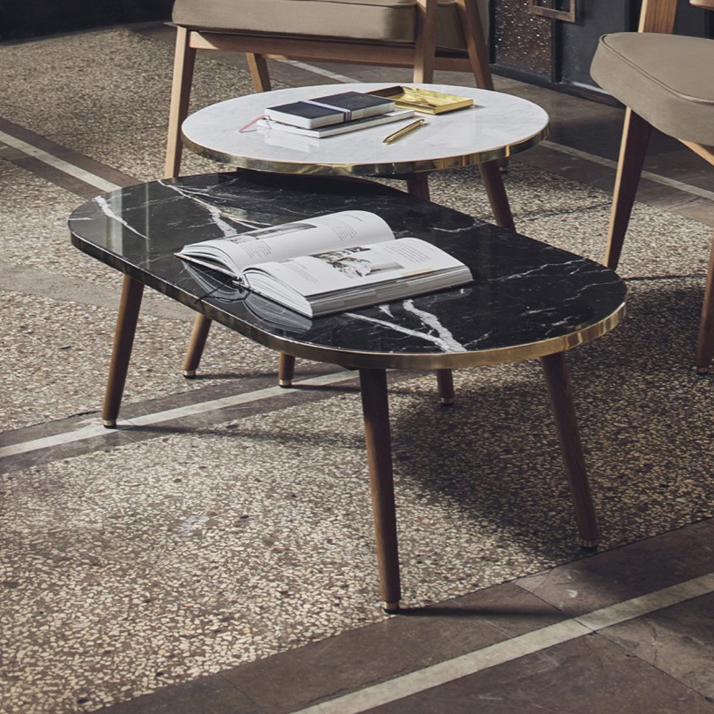 Fox marble coffee table oval black 366 Concept