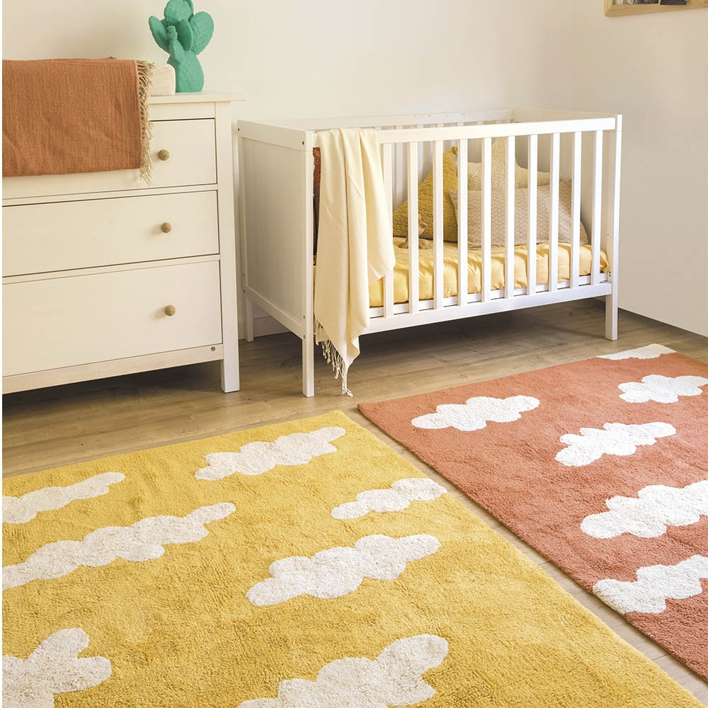 Washable Rug clouds mustard Lorena Canals