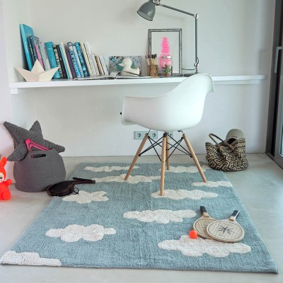 Washable Rug clouds blue vintage Lorena Canals