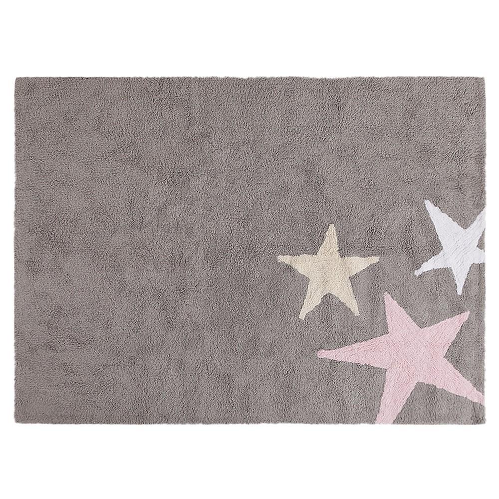 Washable Three Stars rug grey & pink Lorena Canals