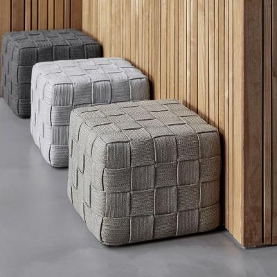 Cube footstool taupe